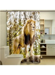 Lively Vigorous Lion Dacron 3D Shower Curtain