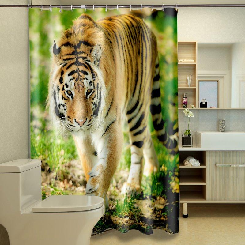 High Quality Inspiring Sedulous Tiger Image 3D Shower Curtain