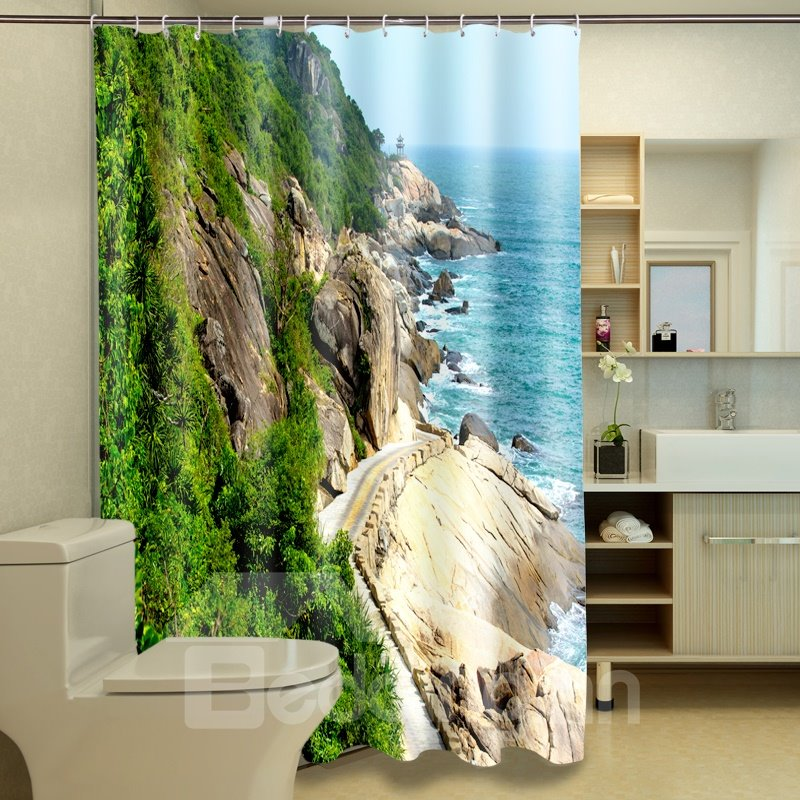 Magnificent Fabulous Charming Harbor 3D Bathroom Shower Curtain