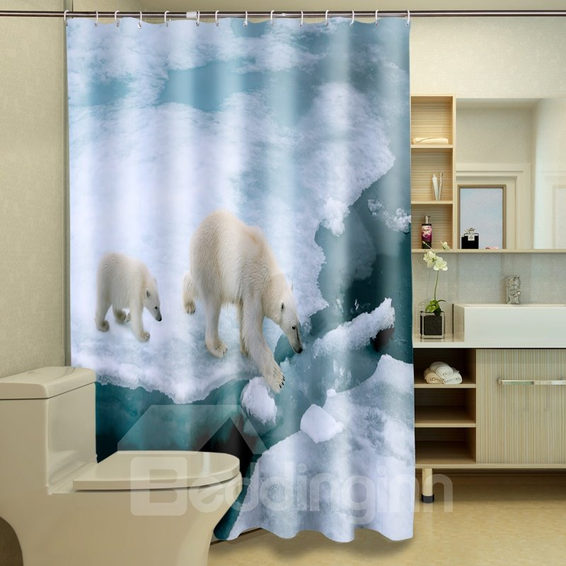 Durable Walking Polar Bear Mom And Son 100% Polyester 3d Shower Curtains