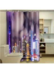 Unique City View Night Scene 3D Shower Curtain