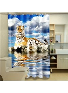 Top Class 3D Lying Tiger Polyester Fabric Shower Curtain