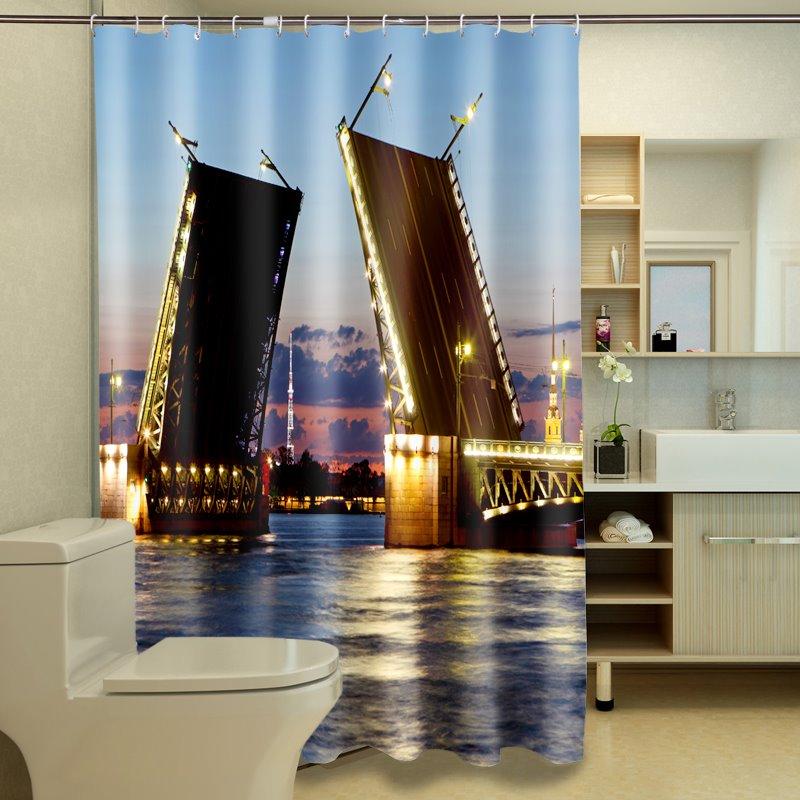 Creative Fashionable Bridge Waterproof Polyester 3D Shower Curtains