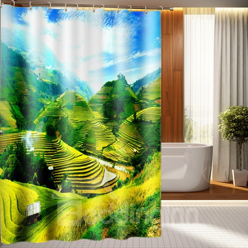 Super Beautiful Terrace Scenery Polyester 3D Shower Curtain