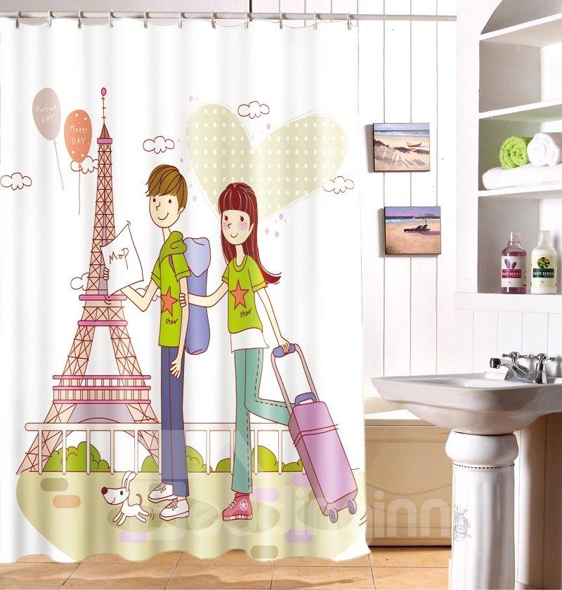 Popular 3D Romantic Love Couple Travel Image Shower Curtain