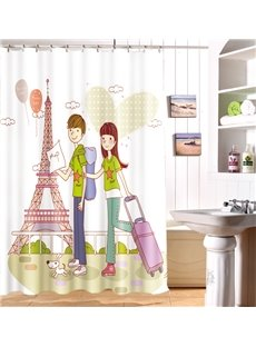 Popular 3D Romantic Love Couple Travel Image Shower Curtain