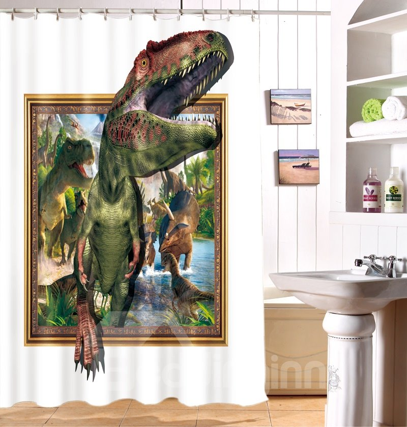 High Quality Unique Dinosaur Print 3D Shower Curtain