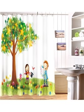 Lovely Starry Tree And Colorful Flowers Pattern 3D Shower Curtain