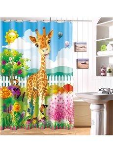Fashionable Design Adorable Cartoon Giraffe 3D Shower Curtain