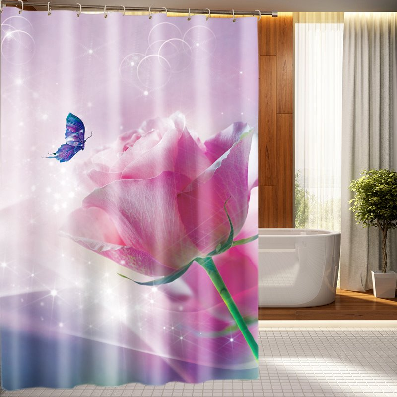 Magnificent Big Pink Rose And Butterfly 3D Shower Curtain
