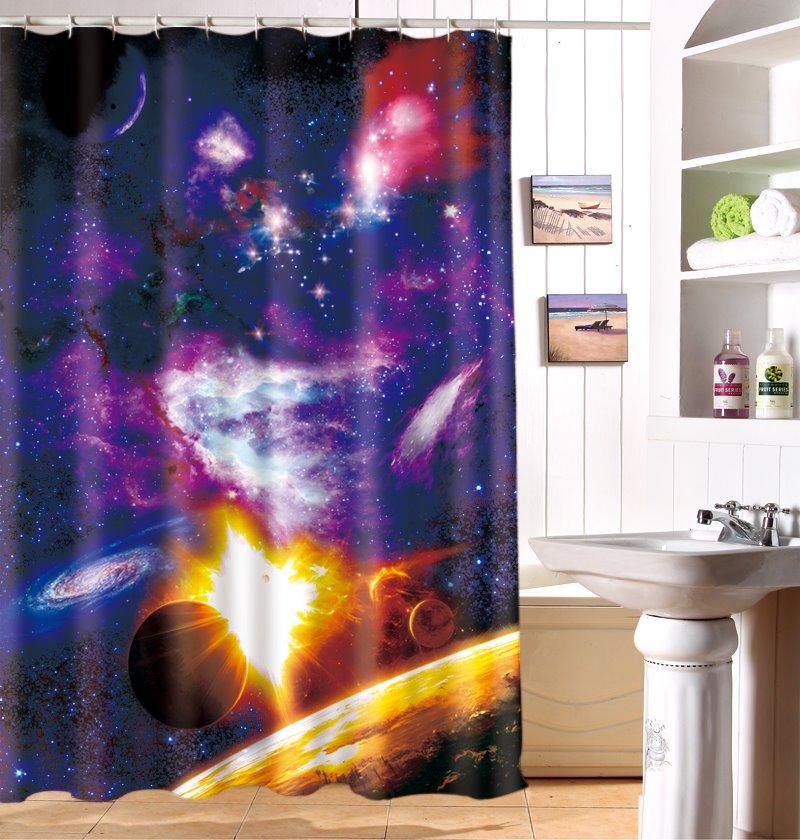 Dazzling Purple Shine Universe Pattern Dacron 3D Shower Curtain