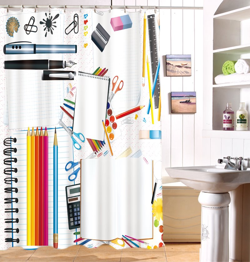 Concise Lovely School Stationery Pattern 3D Shower Curtain