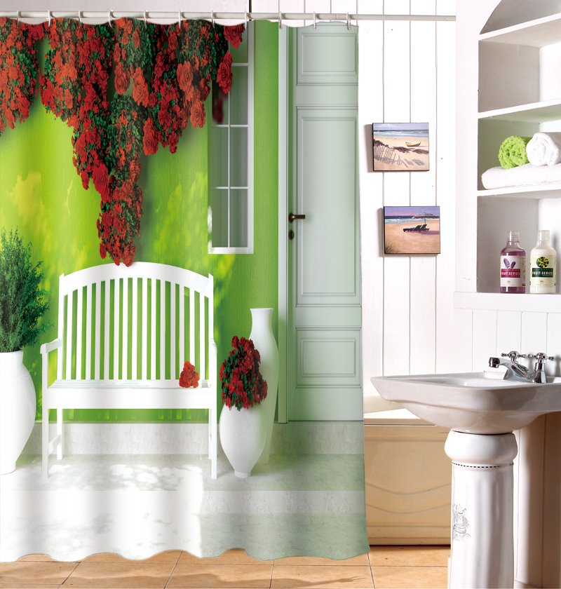 Graceful Lush Flowers And Bench 3D Shower Curtain
