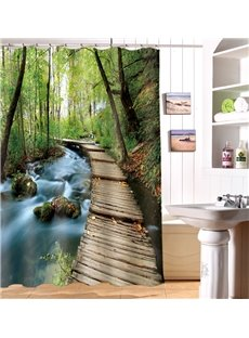 Secluded Forest Wooden Path Print 3D Shower Curtain