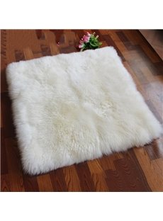 White Square Warm Wool Living Room Area Rug