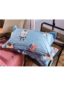 High Quality Unique Cartoon Animals Pattern Cotton 4-Piece Duvet Cover Sets