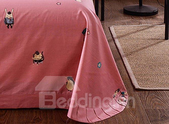 High Quality Unique Cartoon Animals Pattern Cotton 4-Piece Duvet Cover Sets