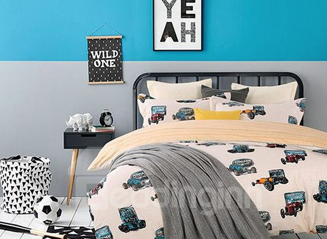 Chic Colorful Cartoon Cars Upscale 4-Piece Cotton Duvet Cover 11663506