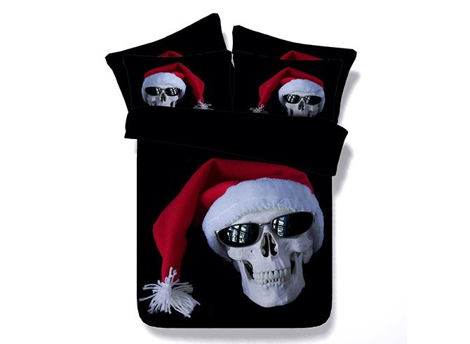 Hot Selling Individual Skull with Christmas Cap Printing 4-Piece Duvet Cover Sets