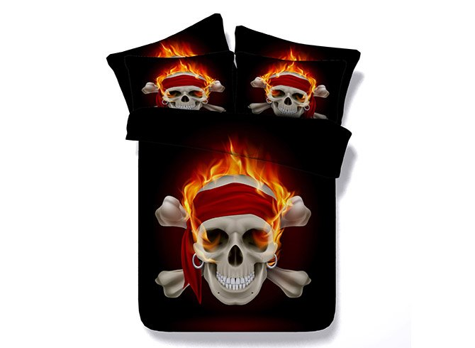 Characteristic Pirates of the Caribbean Skull Printing 4-Piece Duvet Cover Sets