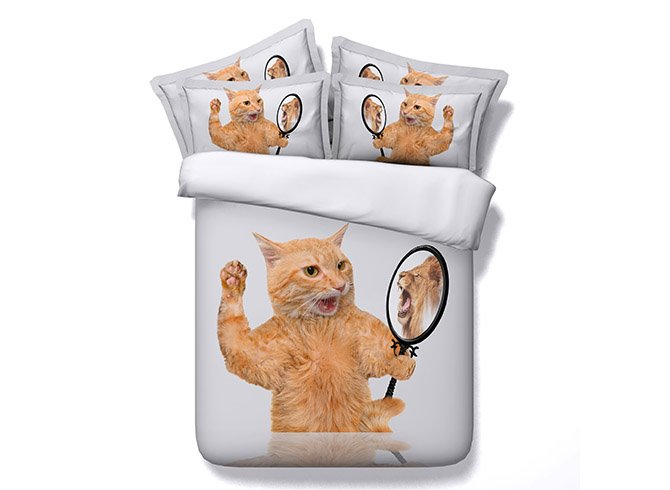 Funny Cat in the Mirror Printing 4-Piece Duvet Cover Sets