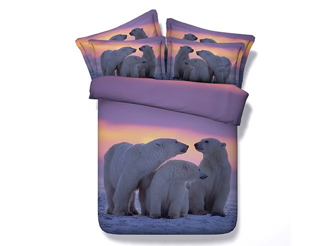 A Cosy Family of Polar Bear Printing 4-Piece Duvet Cover Sets