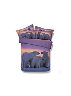 A Cosy Family of Polar Bear Printing 4-Piece Duvet Cover Sets