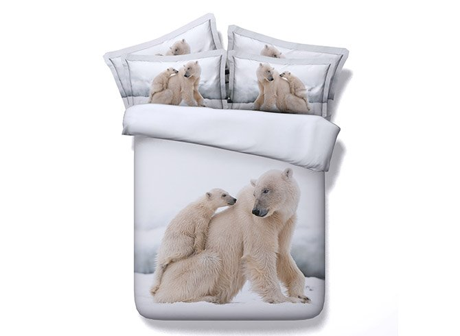 Two Polar Bear Printing 4-Piece Duvet Cover Sets