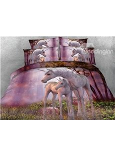 New Arrival Cute Unicorn Printing 4-Piece Duvet Cover Sets
