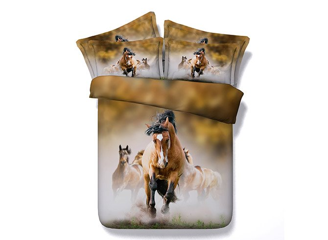 Colorful Running Horses Printing 4-Piece Duvet Cover Sets