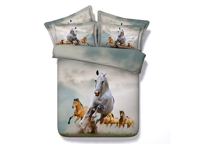 Vivid Running Horses Printing 4-Piece Duvet Cover Sets