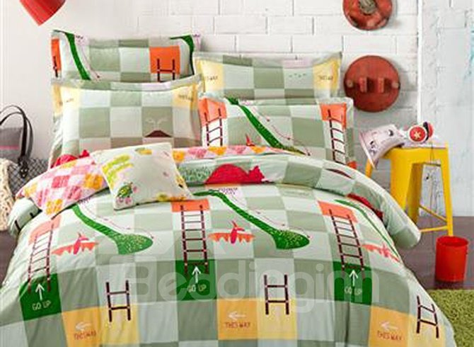 Lovely Little Dinosaur Pattern 100% Cotton 4-piece Duvet Cover Sets