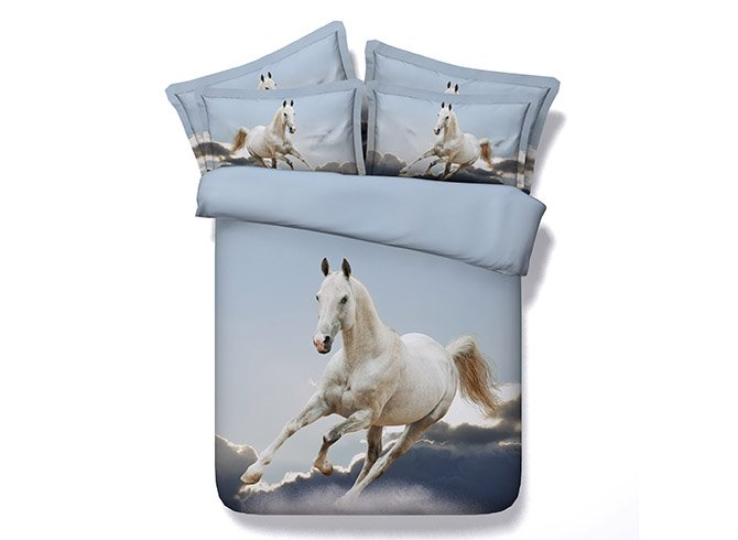 New Arrival Leaping Horse Reactive Printing 4 Pieces Bedding Set