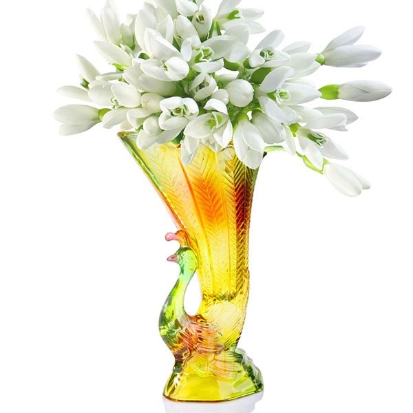 Modern Gorgeous Peacock Design Glazed Glass Flower Vase
