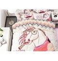 Stylish Chic Cartoon Horse Pattern 4-Piece Duvet Cover Sets