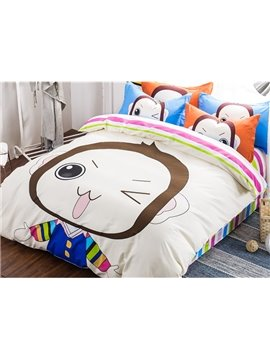 New Arrival Super Lovely Cartoon Monkey Pattern 4-Piece Duvet Cover Sets