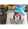 Lovely Cartoon Dog Image 100% Cotton 4-piece Duvet Cover Sets