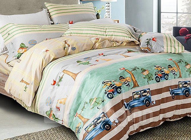 Rural Style Chic Cartoon Cars Cotton 4-Piece Duvet Cover Sets