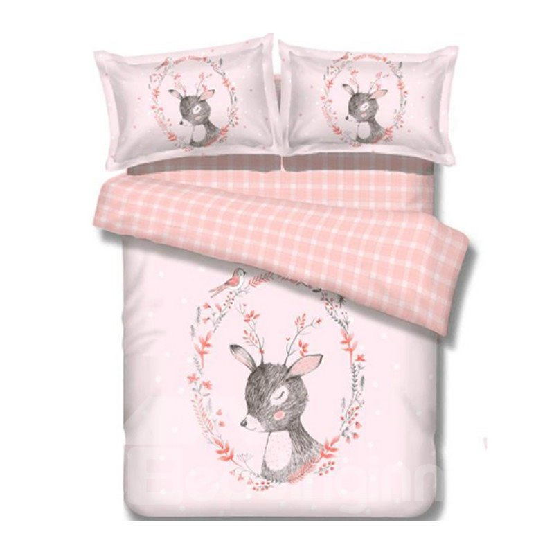 Super Cute Pink Deer Image 100% Cotton 4-Piece Duvet Cover Sets