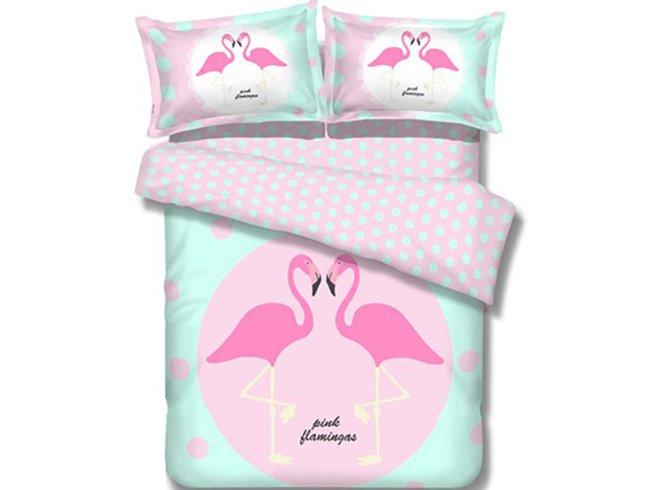 High Class Elegant Lovely Birds Image 100% Cotton 4-Piece Duvet Cover Sets
