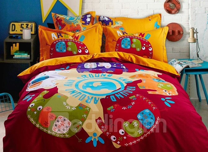 Super Lovely Cartoon Elephant Image 4-Piece Duvet Cover Sets