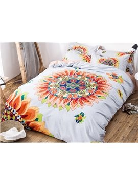 Magnificent Chic Flowers Design 100% Cotton 4-piece Duvet Cover Sets