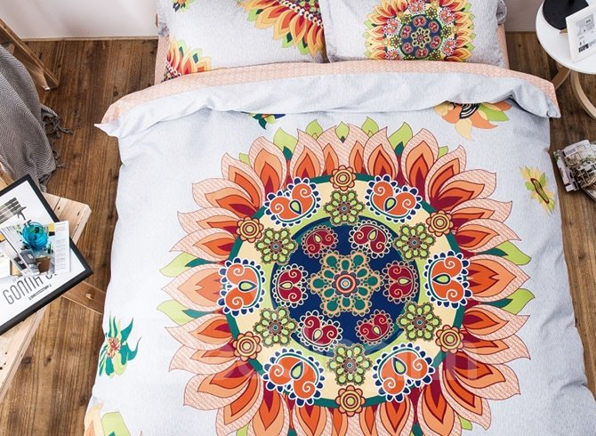 Magnificent Chic Flowers Design 100% Cotton 4-piece Duvet Cover Sets