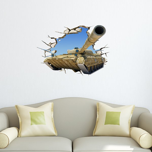 Fantastic Tank Through Wall Removable 3D Wall Sticker