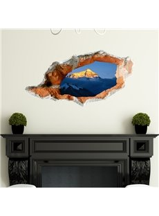 Magnificent Mountain Wall Hole View Removable 3D Wall Sticker
