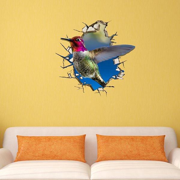 Wonderful Humming Bird Through Wall Removable 3D Wall Sticker