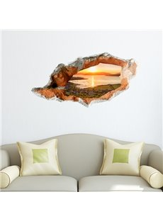 Fabulous Sunrise on the Sea Wall Hole View Removable 3D Wall Sticker