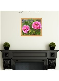 Gorgeous Peony Flowers Framed Removable 3D Wall Sticker