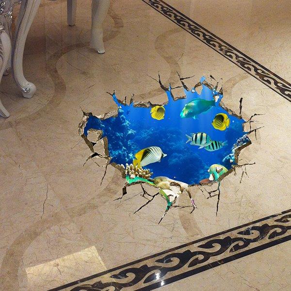 Wonderful Sea World Deep Sea Fish Floor Sticker Removable 3D Wall Sticker