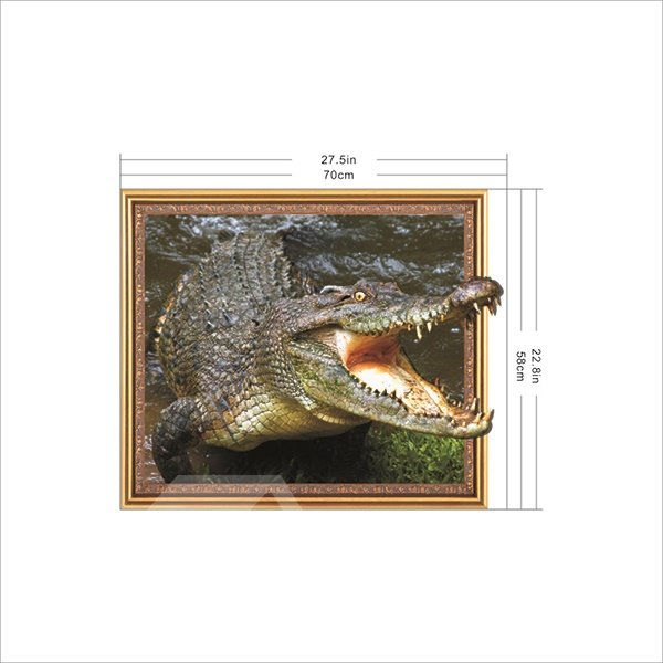 Fabulous Crocodile With Mouth Wide Open Framed Removable 3D Wall Sticker